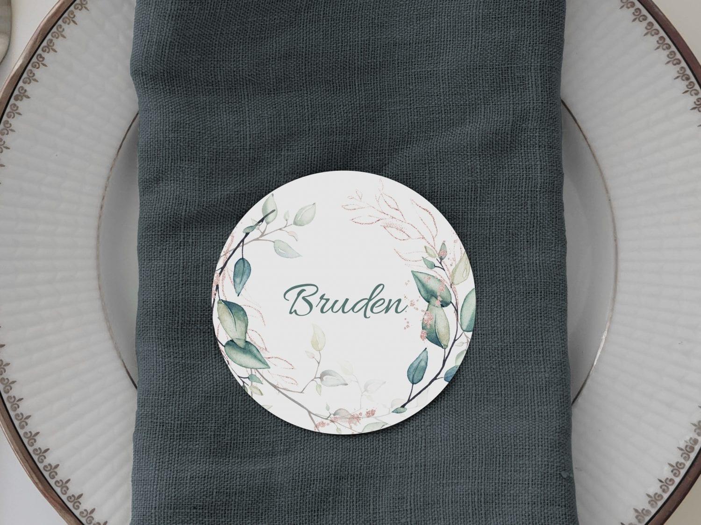 Teal Vibrant, runde bordkort, bryllup