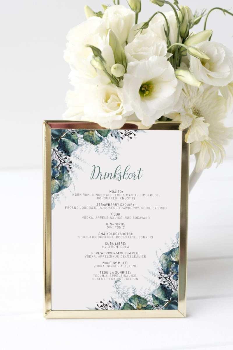 Teal Vibrant, drinkskort, bryllup
