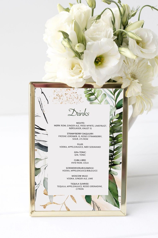 drinkskort, ramme, tropical dreams, bryllup