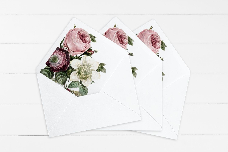 Vintage Floral, kuvertindlæg, bryllup