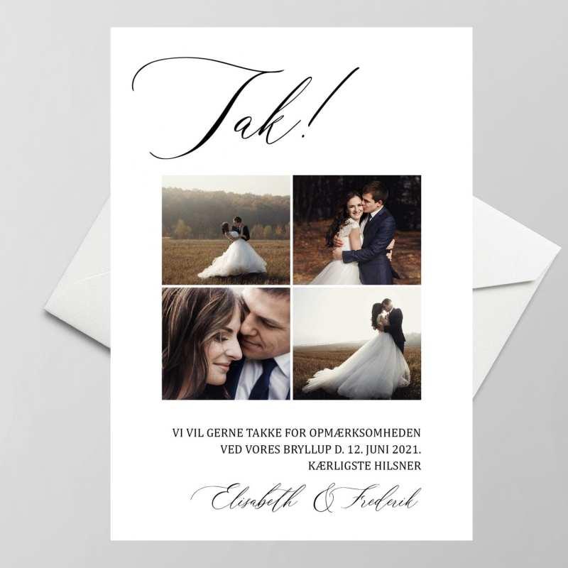 Simpelt takkekort til bryllup med billedcollage