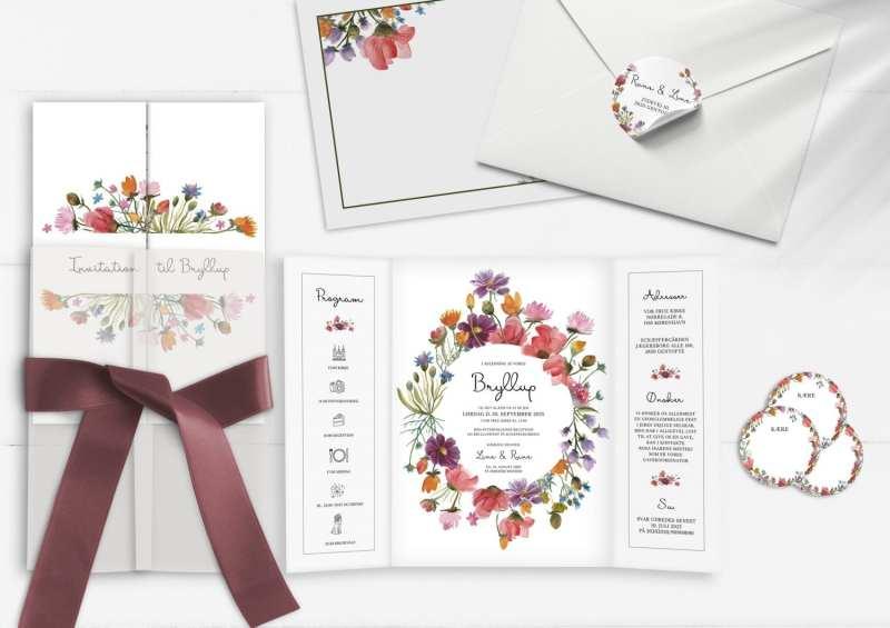 Farverig bryllupsinvitation med farvede blomster