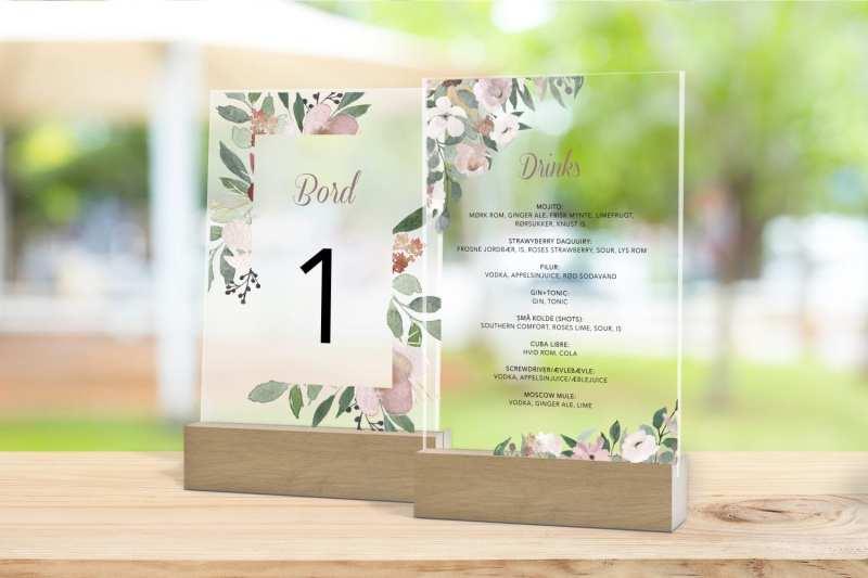 Skilt, drinkskort, photobooth, menu - Blush Blossom