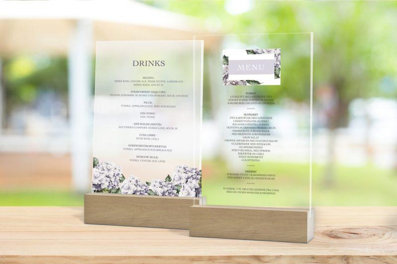 Skilt, drinkskort, photobooth, menu - Lavender Hydrangea