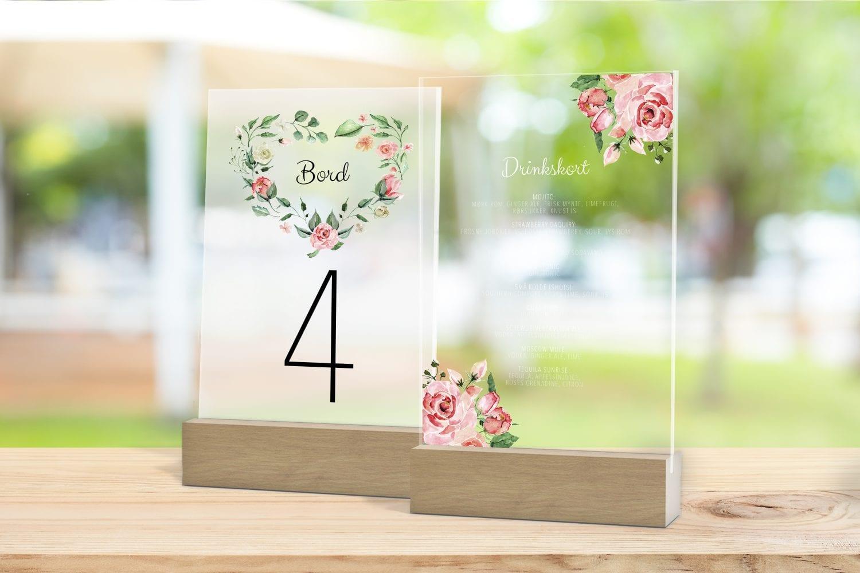 Skilt, drinkskort, photobooth, menu - Pale Rose