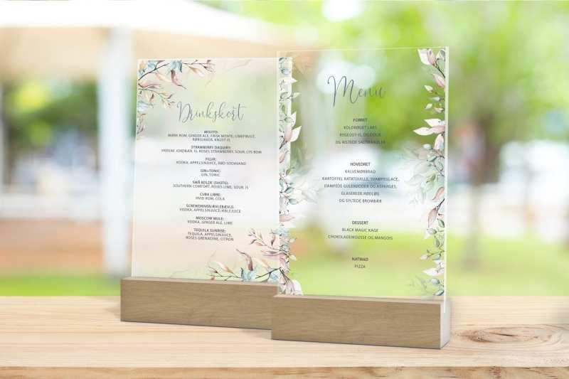 Skilt, drinkskort, photobooth, menu - Soft Sage