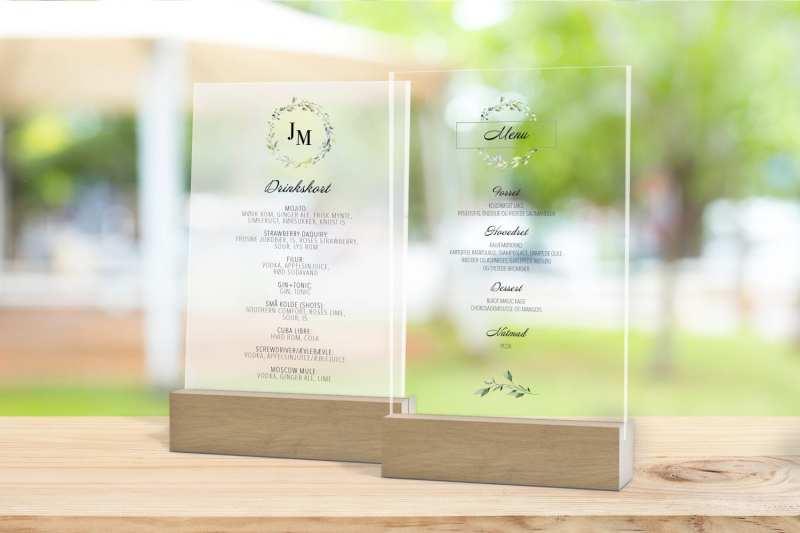 Skilt, drinkskort, photobooth, menu - Dusty Green
