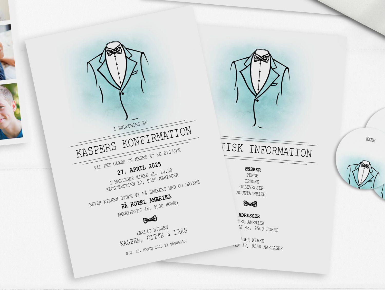 Suit invitation turkis konfirmation