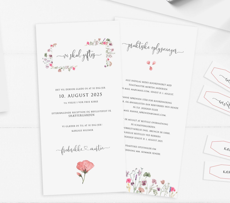 Pressed flowers højt format invitation