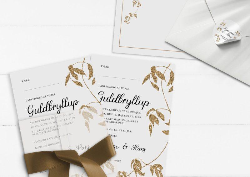 guldbryllup invitation guld glimmer