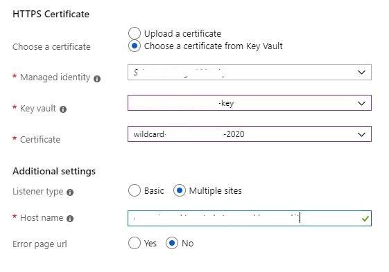 Figura 6 - AAG utilizzo certificato in Azure Key Vault