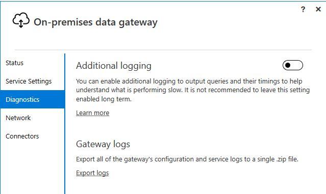 Figura 9 - On-Premises Data Gateway diagnostica