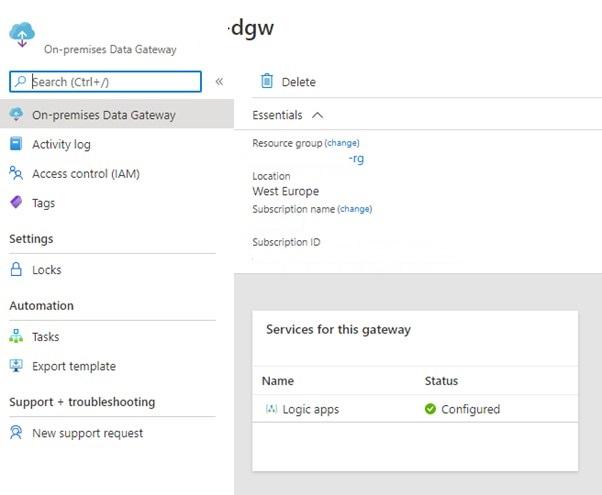 Figura 10 - On-Premises Data Gateway su Azure