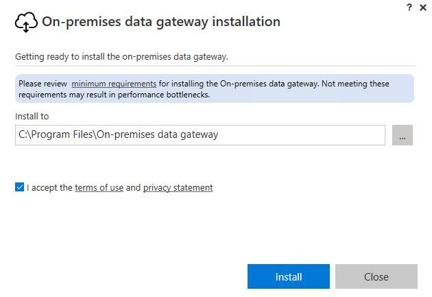 Figura 3 - On-Premises Data Gateway installazione