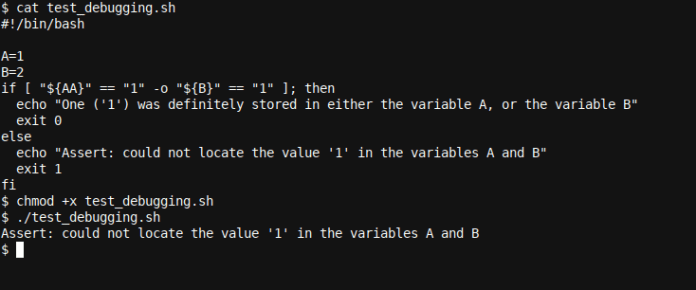 A small Bash script with a bug