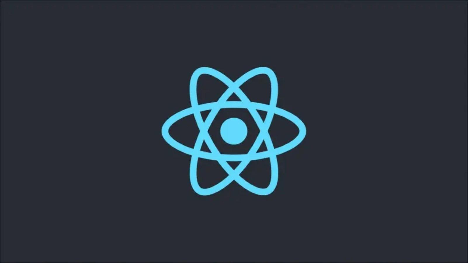 React logo on a dark background