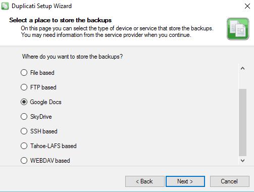 Duplicati to Backup Google Drive