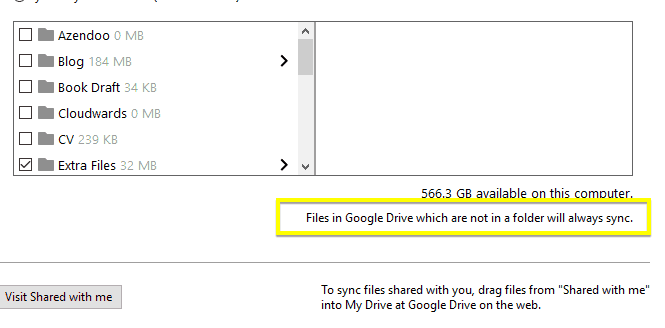Files in the main folder are synced automatically