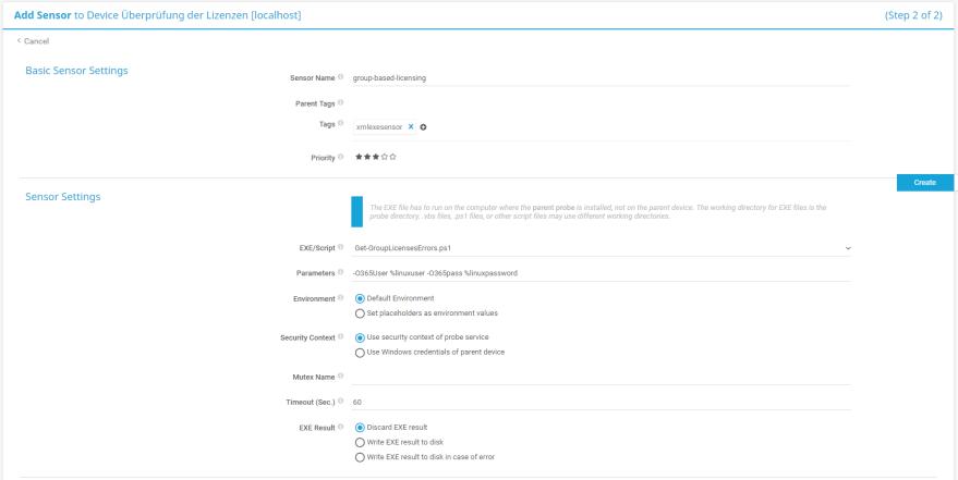 PRTG - Gruppenbasierte Lizenzierung -   Sensor Parameter