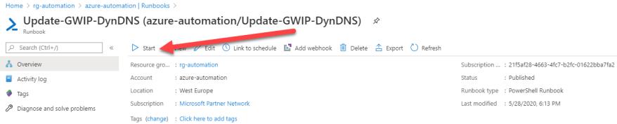 Azure VPN Verbindung mit einer dynamischen IP-Adresse - Runbook ausführen