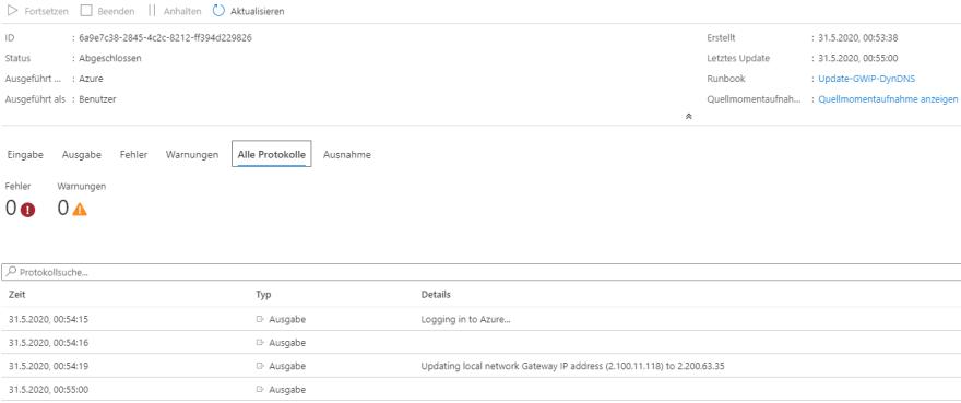 Azure VPN Verbindung mit einer dynamischen IP-Adresse - Änderung der IP-Adresse