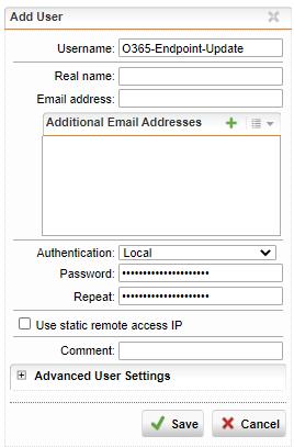 Import der Office 365 Endpoints in die Sophos UTM - Benutzer hinzufügen