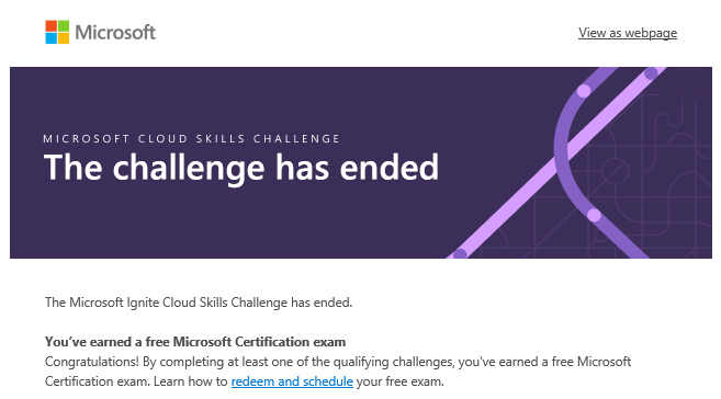 Microsoft Ignite Cloud Skills Challenge 2020 - Challenge has ended