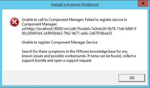 Unable to call to component manager