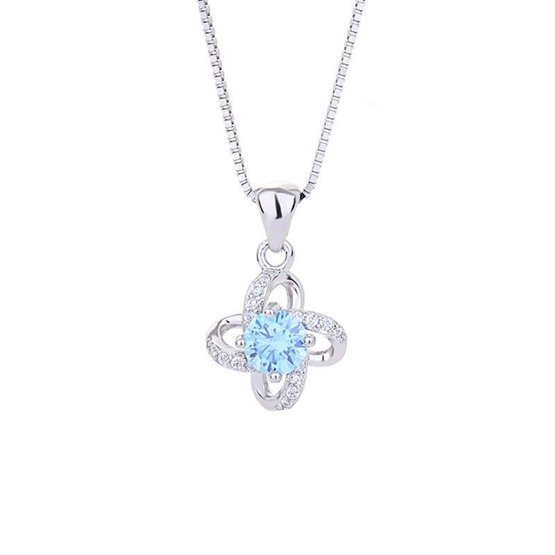 Four-leaf Clover Blue Zircon Necklace Women High Quality Fashion Pendant Clavicle Chain Original Jewelry CLOVER JEWELLERY