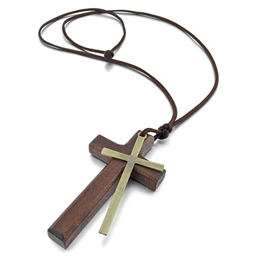 Leather Wood Pendant Necklaces Gold Brown Cross Vintage Retro Adjustable Men Women Chains CLOVER JEWELLERY