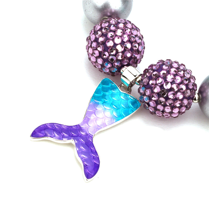 Blue Christmas Mermaid Pendent Chunky Necklace Bubblegum Bead Best For Gifts Baby Girl Necklace Jewelry For Toddler Children CLOVER JEWELLERY
