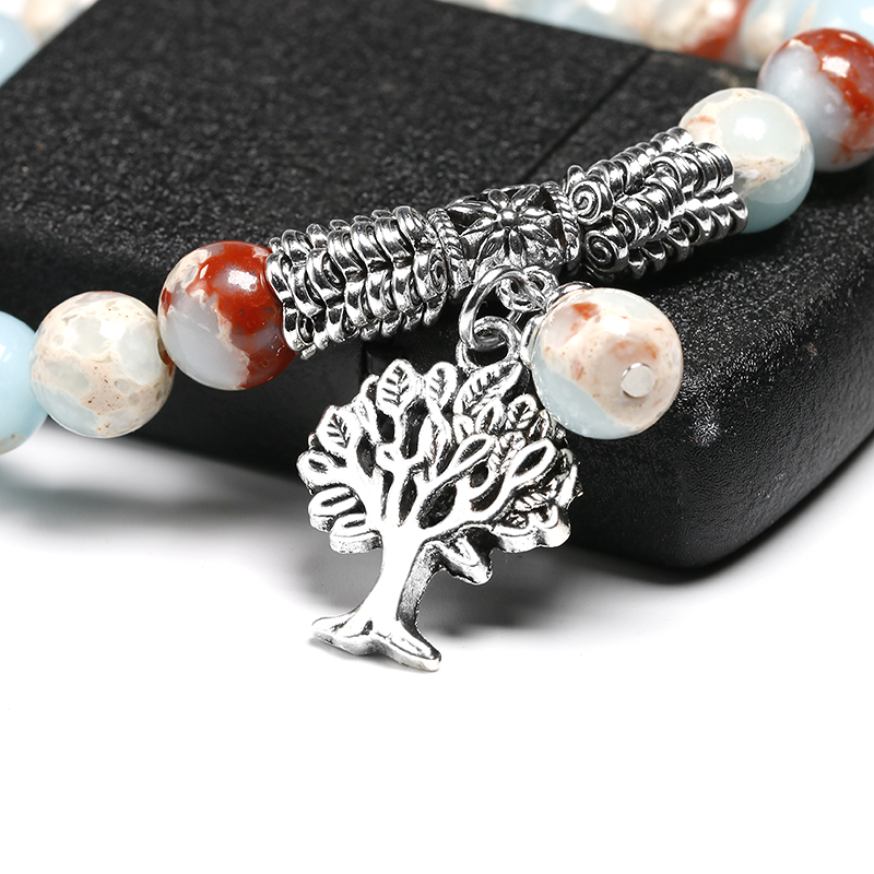 Blue Sea Sediment Imperial Jaspers With Tree Pendent Strand Bracelets CLOVER JEWELLERY