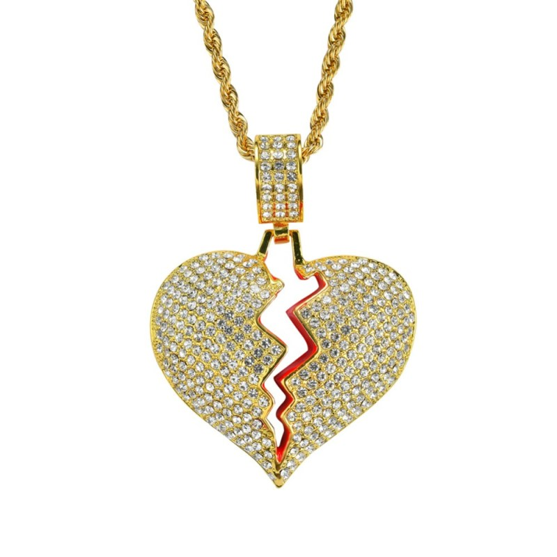 Iced Out Full Rhinestone Alloy Heart Pendent Necklace Sets CLOVER JEWELLERY