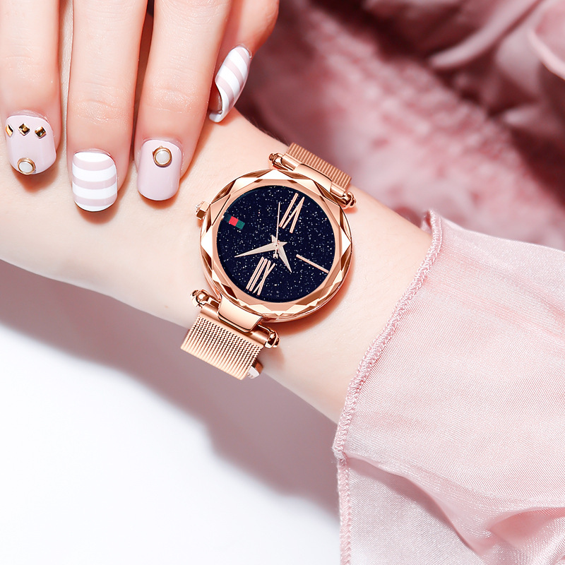 Rose Gold Women Watches Minimalism Starry sky Magnet Buckle Fashion Casual Female Wristwatch Waterproof Roman Numeral CLOVER JEWELLERY