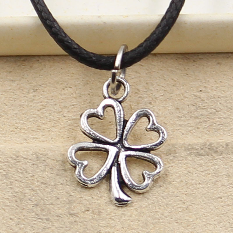 Tibetan Silver Color Pendant Clover Necklace Choker Charm Black Leather Cord Factory Price Handmade Jewelry CLOVER JEWELLERY