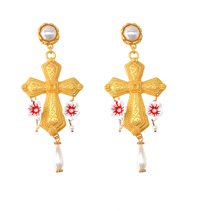 Cross Baroque retro party exaggerated dangle earring CLOVER JEWELLERY