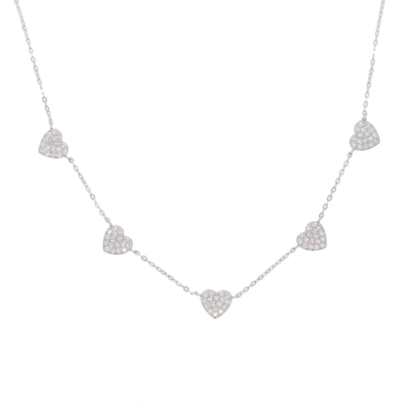 micro pavd zirconia 925 Sterling Solid Silver Love Heart Pendent Necklace For Women Jewelry CLOVER JEWELLERY