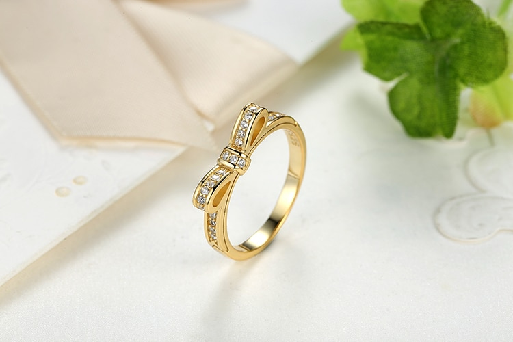 Sparkling Bow Knot Stackable Ring Micro Pave CZ for Women Jewelry CLOVER JEWELLERY