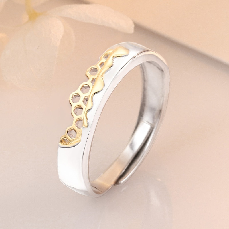 S925 Sterling Silver Prevent Allergy Never Fade Love Pairs Rings Golden Fine Hollow Home Nest Stone Woman Man Couple Rings Lover CLOVER JEWELLERY
