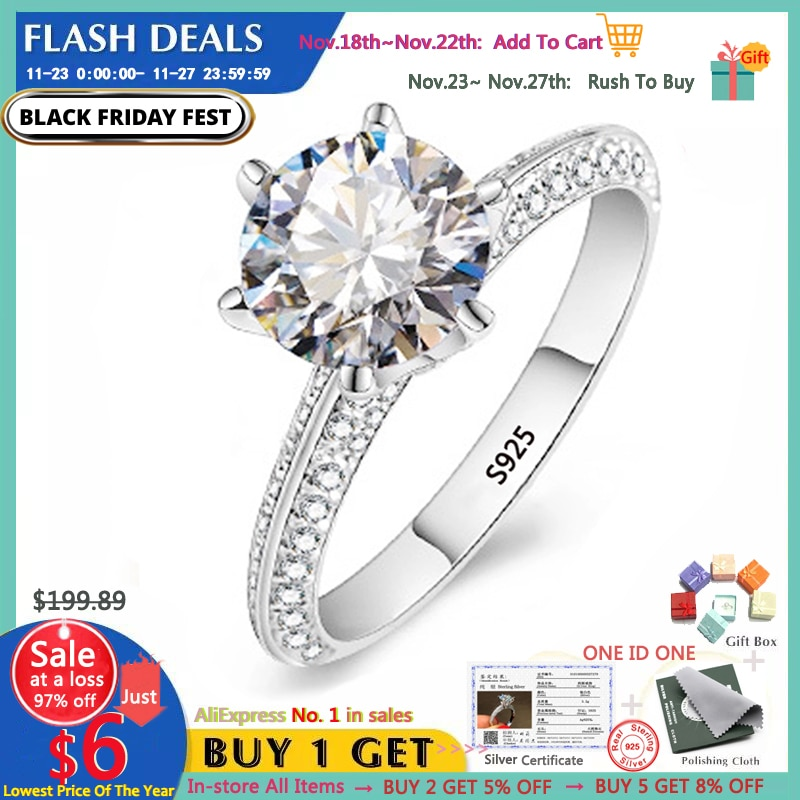 YANHUI Luxury 2.0ct Lab Diamond Engagement Rings Original 925 Silver Fine Jewelry Bride Wedding Band Women Christmas Gift RX279 CLOVER JEWELLERY