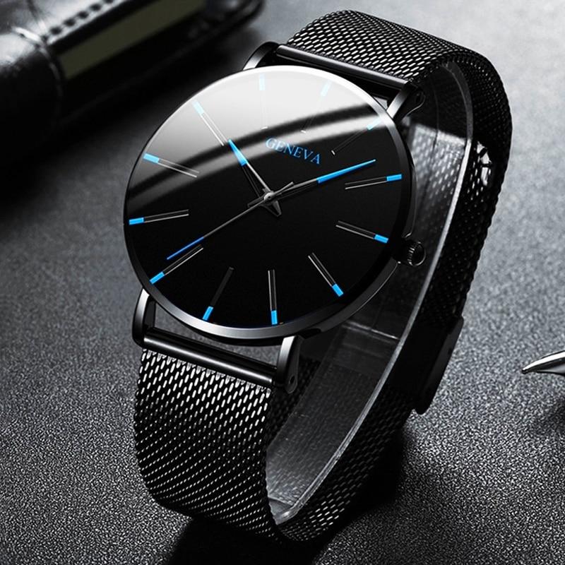 Minimalist Men's Fashion Ultra Thin Watches Simple Men Business Stainless Steel Mesh Belt Quartz Watch CLOVER JEWELLERY