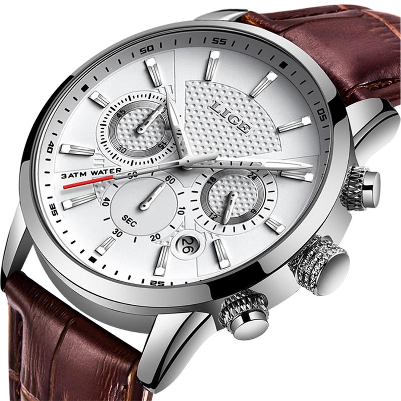 New Men's Leather Chronograph Waterproof Sport Automatic Date Quartz Watch For Men CLOVER JEWELLERY