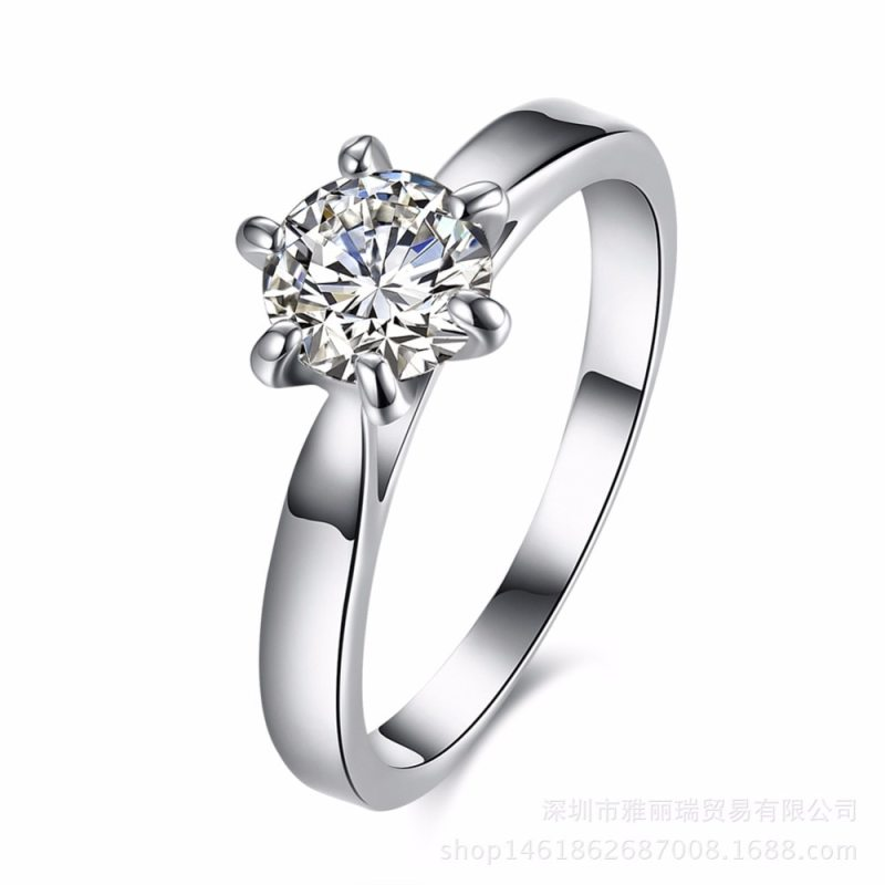 Hot Sell New arrival wedding rings for women Six claw silver plated ring Austria zircon engagement ring Christmas gift CLOVER JEWELLERY