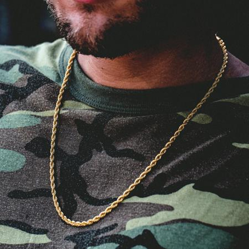 """Rapper Cuban Chain 18"""" 20"""" 24"""" 30"""" Gold Color Stainless steel Franco Link Necklace Hip hop Jewelry CLOVER JEWELLERY"""
