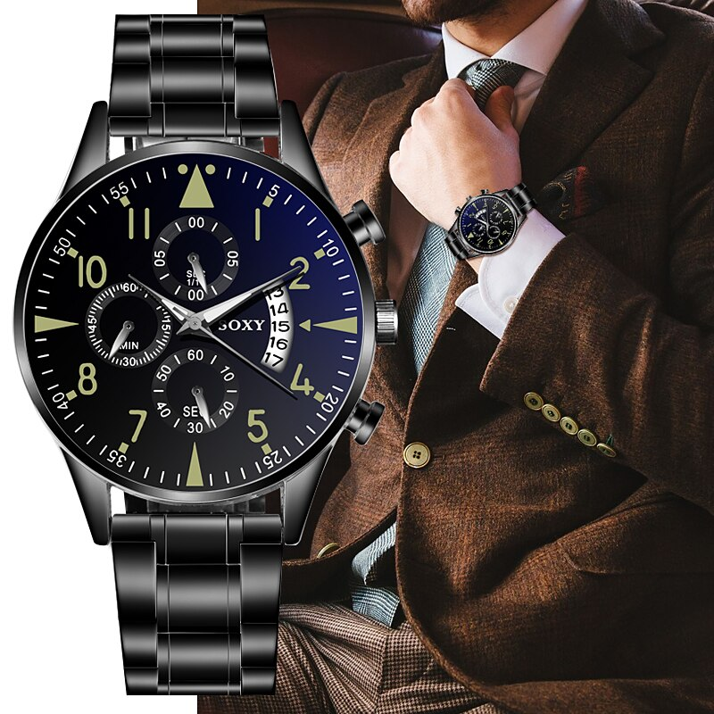 Men's Fashion Stainless Steel Watch Luminous Sports Watches For Men Clock Luxury Business Men's Watches Auto Date Reloj Hombre CLOVER JEWELLERY