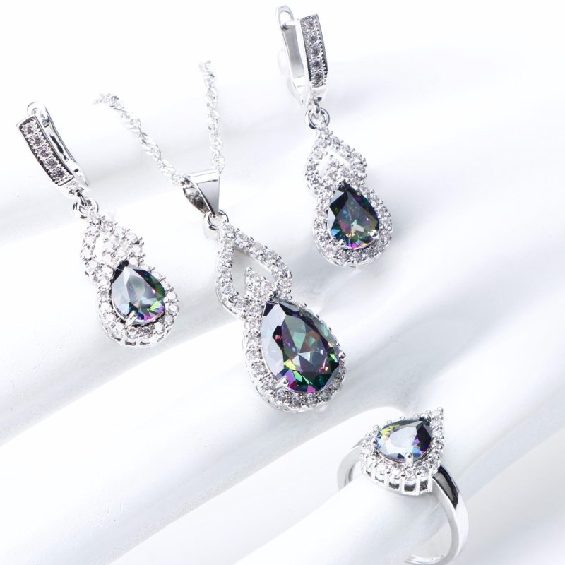 Natural Rainbow Jewelry Sets 925 Sterling Silver Stones Wedding Earrings For Women Stones Bracelet Necklace Rings Set Gifts Box CLOVER JEWELLERY