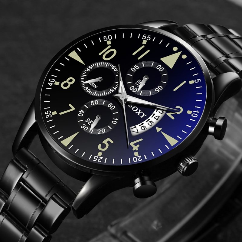 New Men's Watch Black Stainless Steel Quartz Auto Date Clock Men's Watches Top Brand Luxury Sport Watches CLOVER JEWELLERY