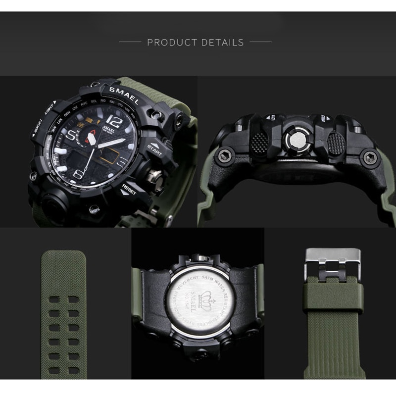 Men Sports Watches Dual Display Analog Digital LED Electronic Quartz Wristwatches Waterproof Swimming Military Watch CLOVER JEWELLERY