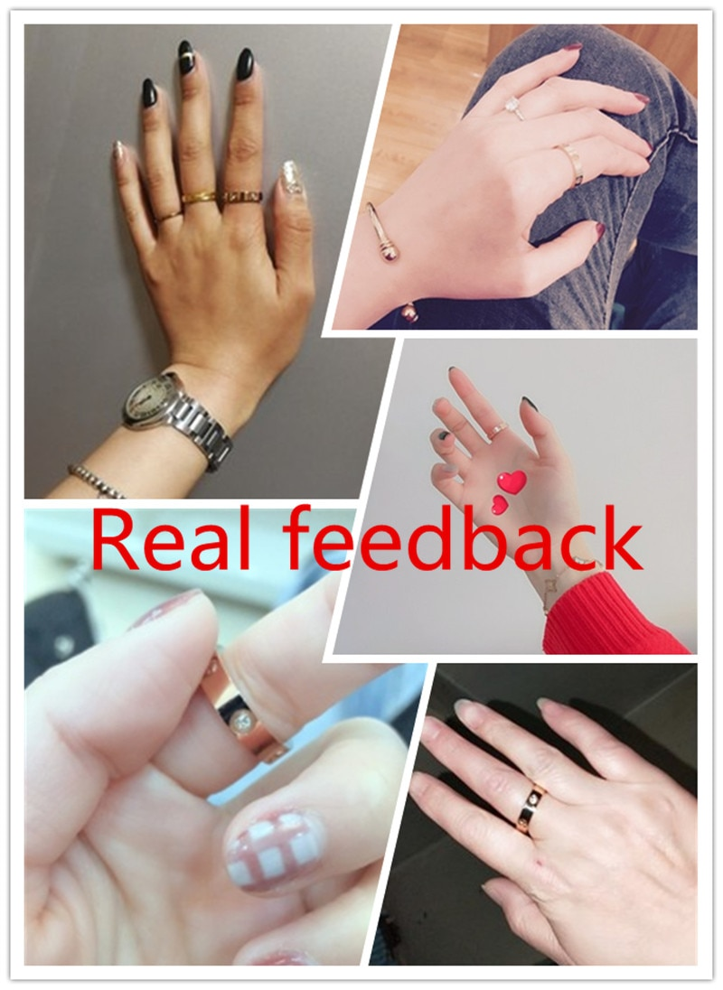 Trendy Stainless Steel Rose Gold Color Love Ring for Women Men Couple CZ Crystal Rings CLOVER JEWELLERY