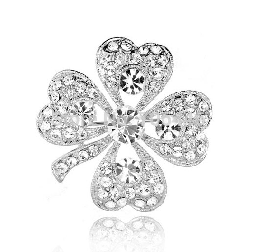 "Silver Plated Austrian Crystal Diamante Four Leaf Clover Brooch Pin 1.4"" CLOVER JEWELLERY"